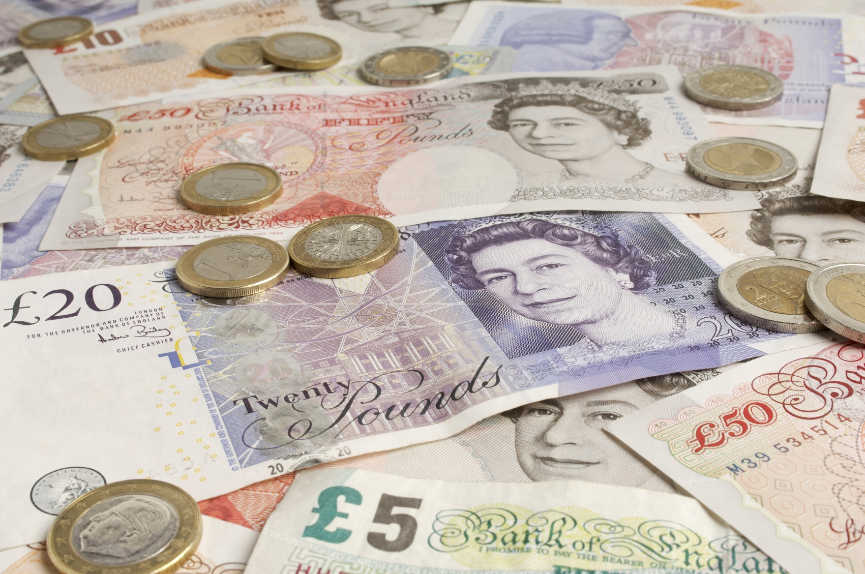 British paper currency and coins