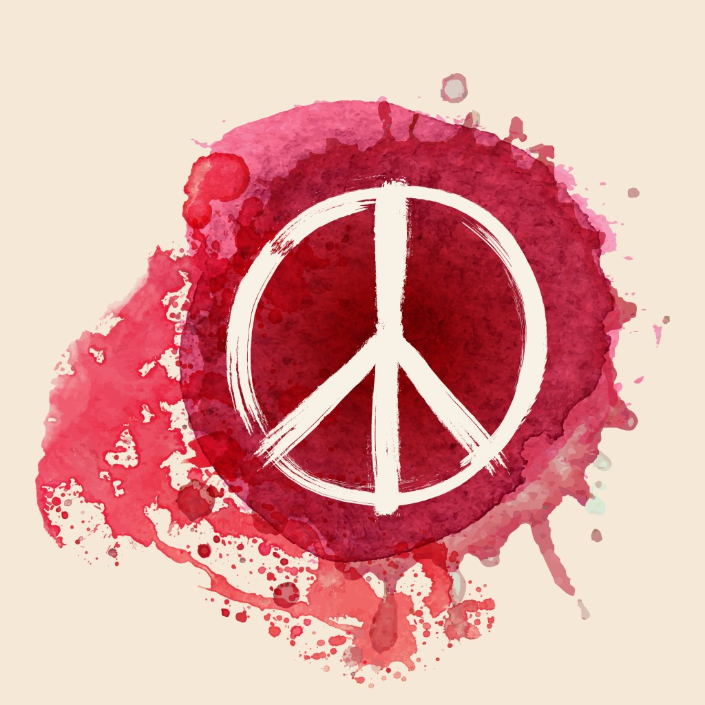 Peace sign brush stroke on red water color ink splat background